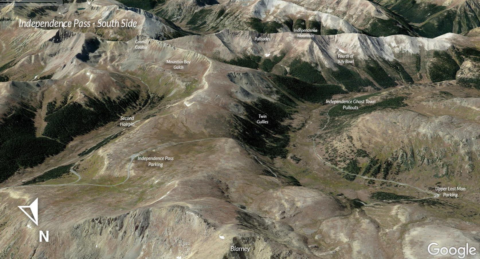 Google Earth view of Independence Pass South