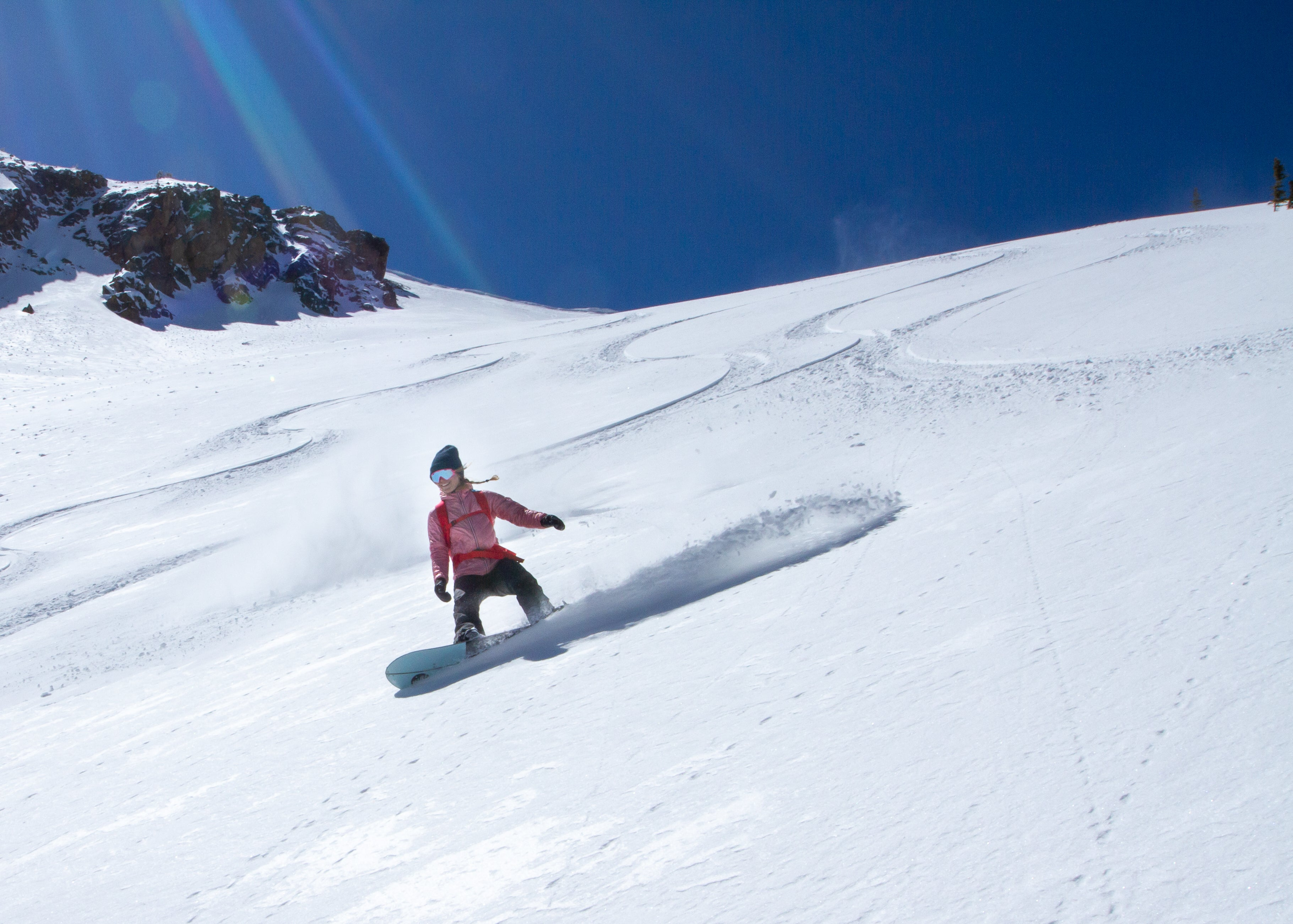 Snowboarder frontside  on Independence Pass