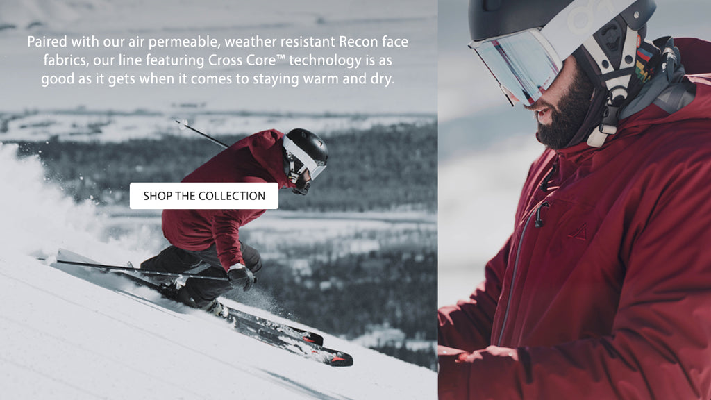 Skiing and close up in the Ozone Jacket