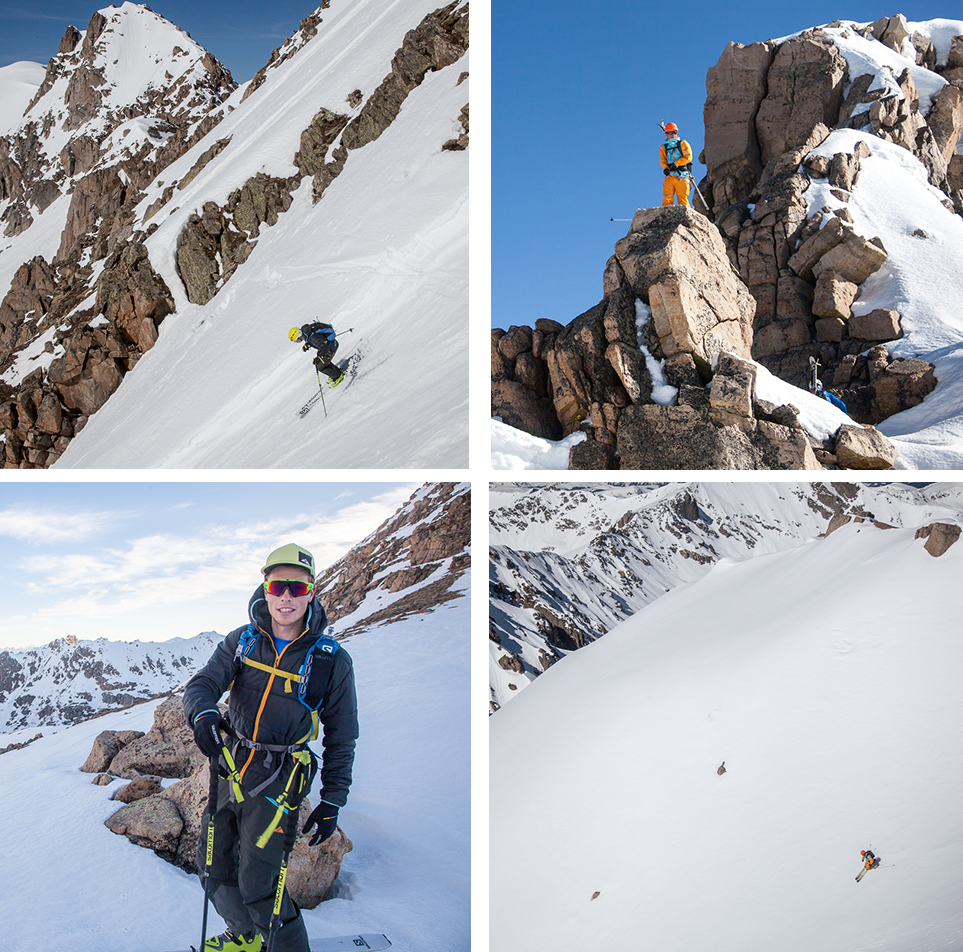 Collage of ski photos from mission to Williams Mountain on Independence Pass