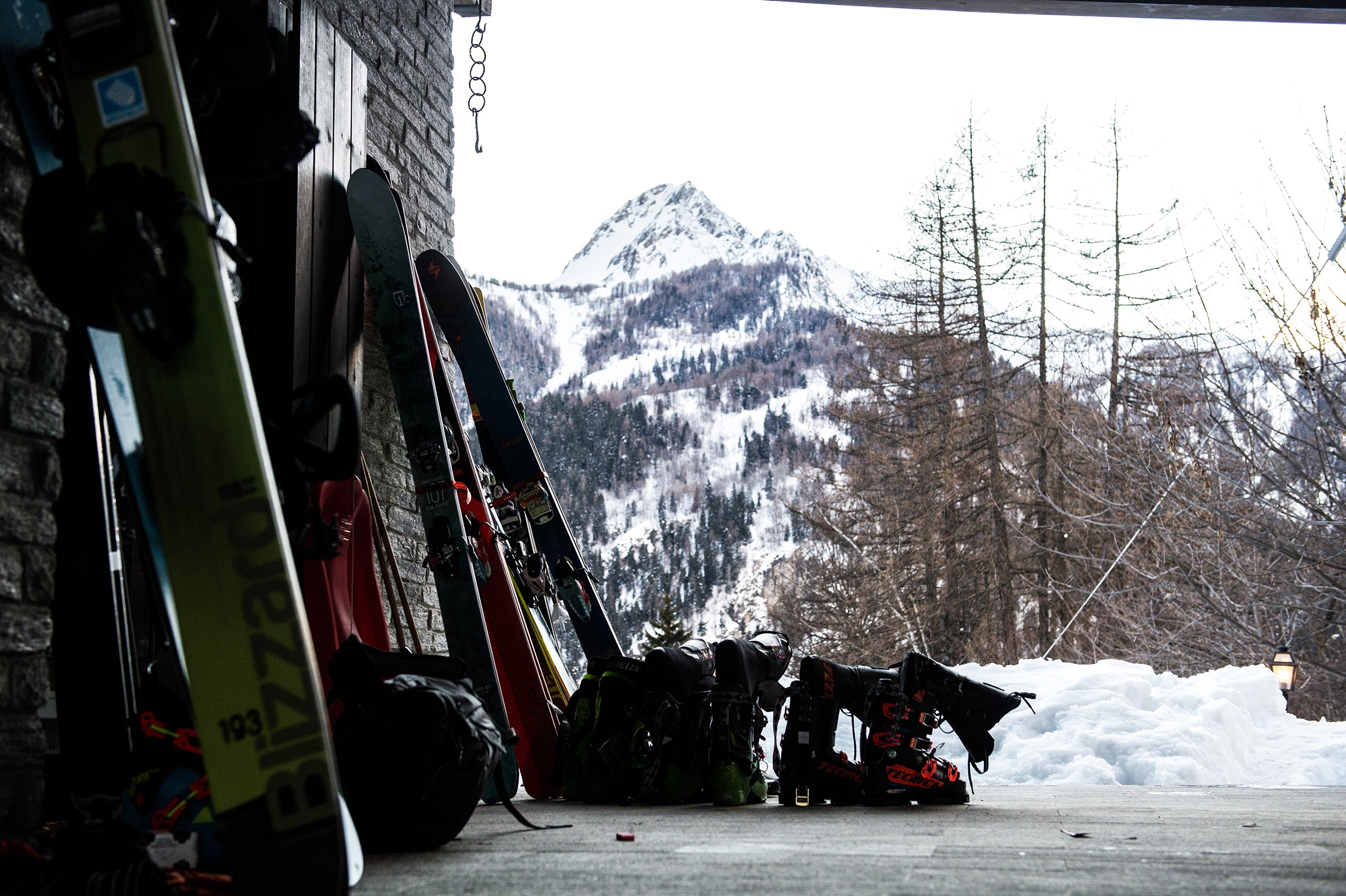 Ski gear drying on patio