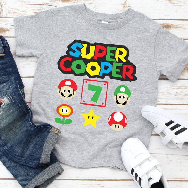 Super Mario Personalized Name & Age Shirt