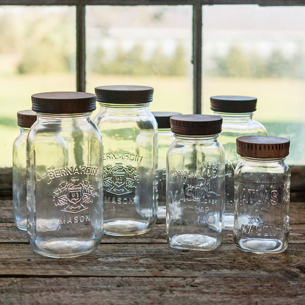 Wood Mason Jar Lids , for beautiful Pantry and Open Shelving