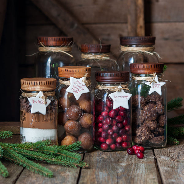 Wood Pantry Jar Lids, Food in Jars