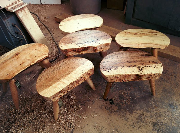 "Finishing Touches for Rustic Handmade Stools or ""how to fix a rocky stool or chair"""