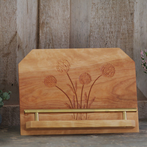 Tablet Cookbook stand, craspedia billy buttons