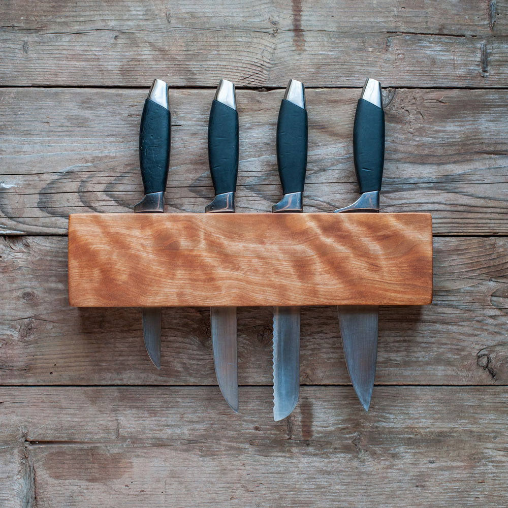 Kitchen Knife Wall Rack, Flame Birch - Cattails Woodwork