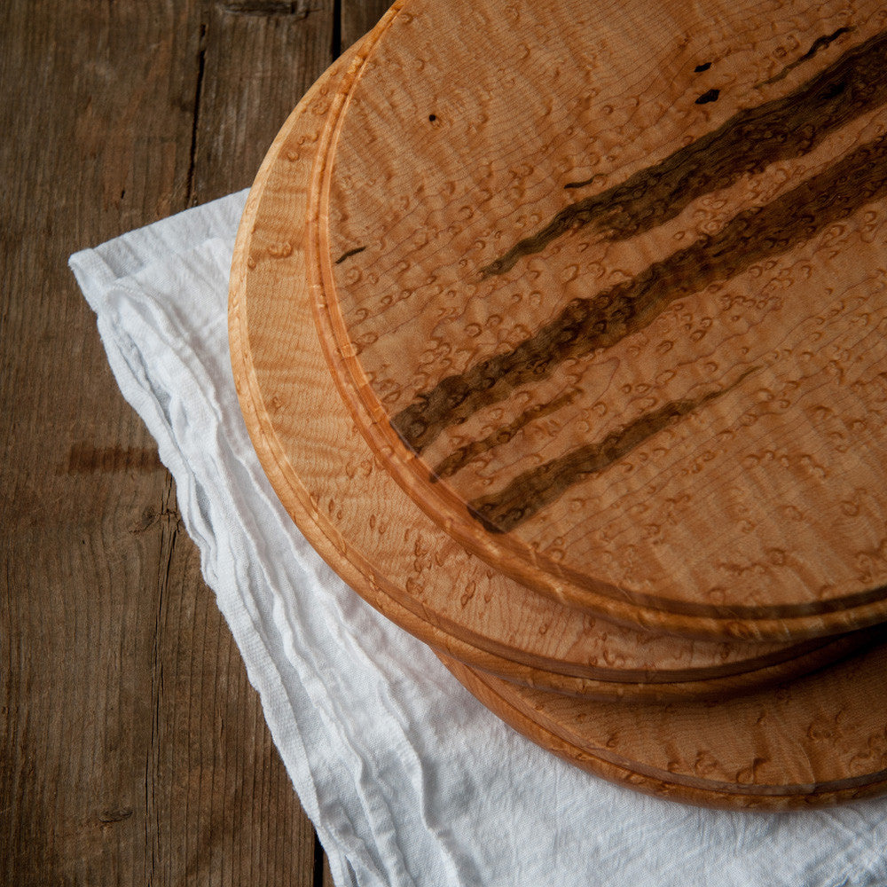 Birdseye Maple Round Cheese Board - Cattails Woodwork