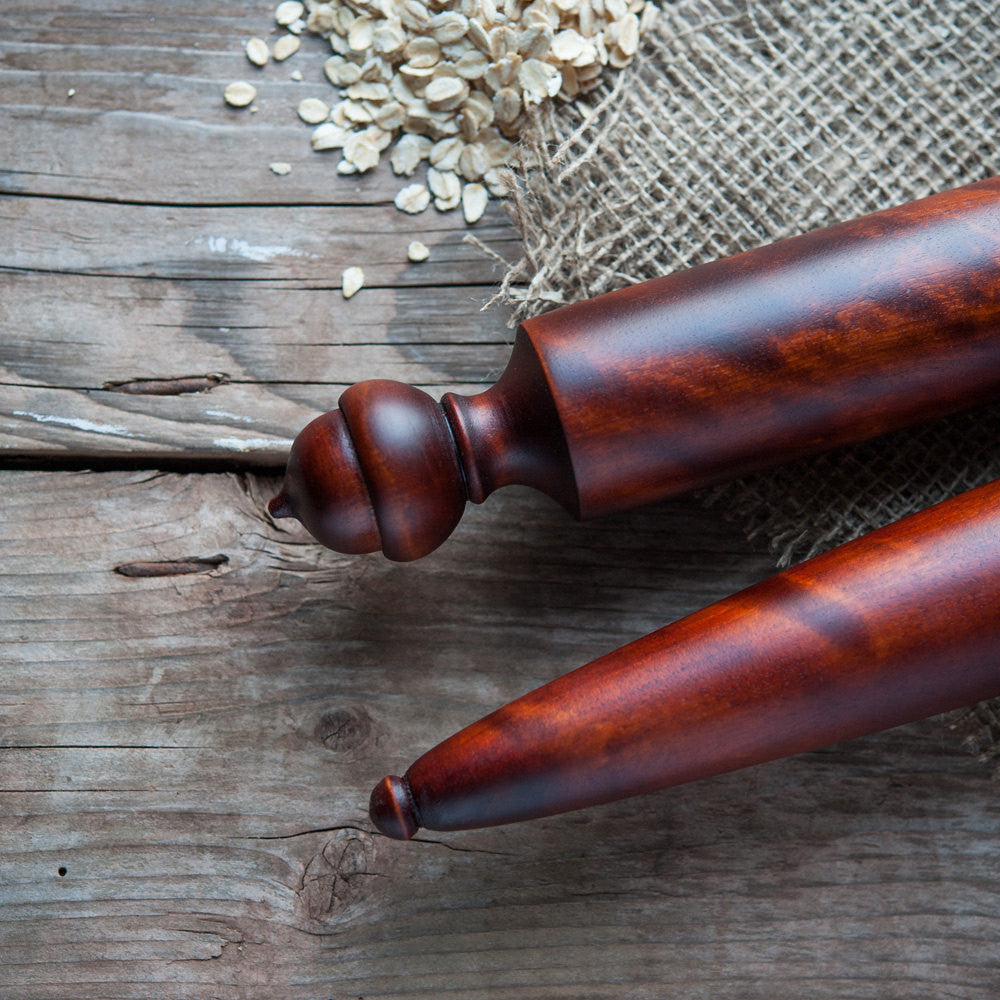 Acorn Pastry Baton,  Tapered Rolling Pin - Cattails Woodwork
