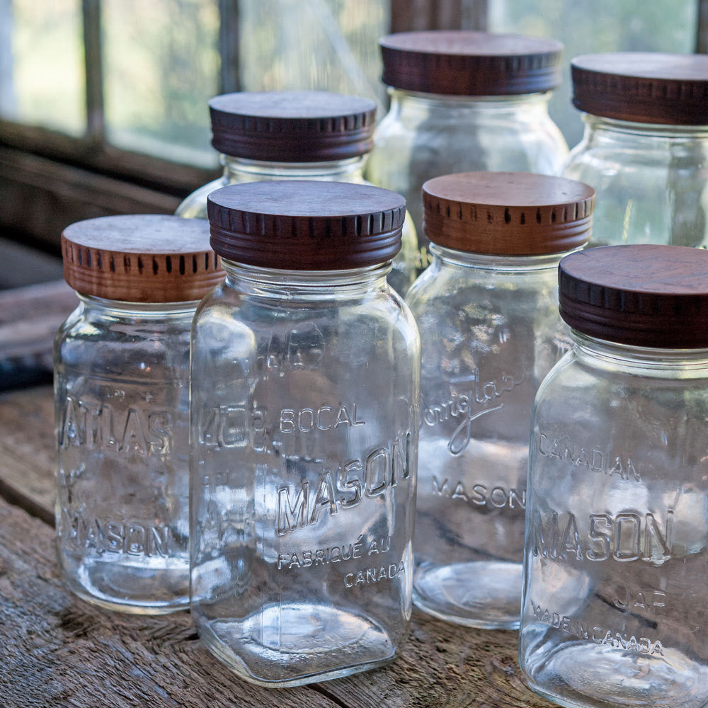 Set of 4 Wood Mason Jar Tops - Cattails Woodwork