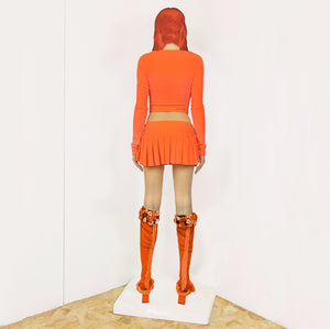 HOT JUICY 2.0 VELVET MINI SKIRT IN NEON ORANGE