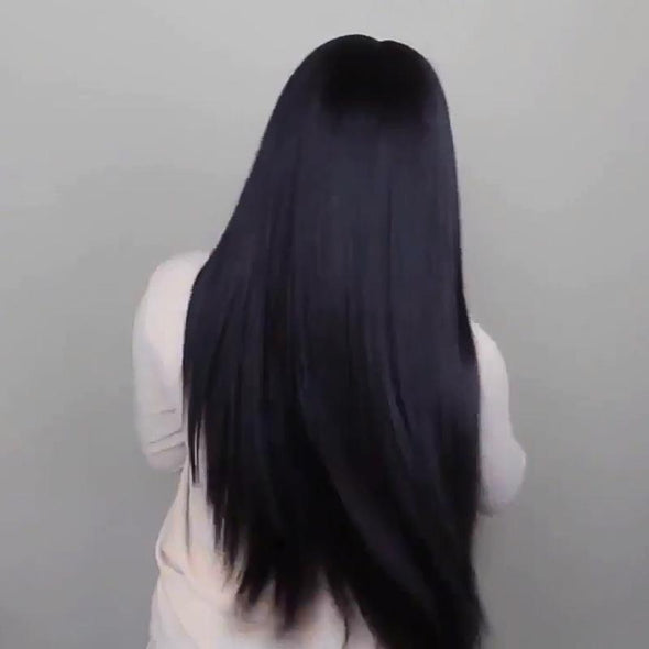 Black invisible long straight hair