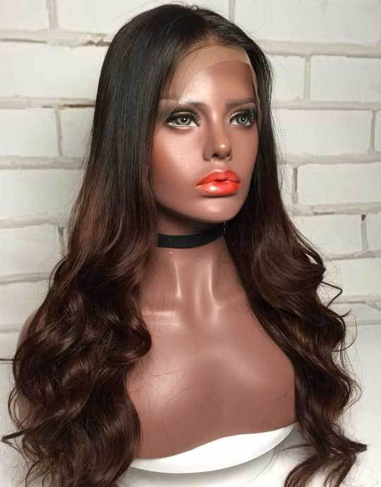Lace Front Wigs 22'' Long Wavy Synthetic Wigs For Gradient Women 120% Density Wigs