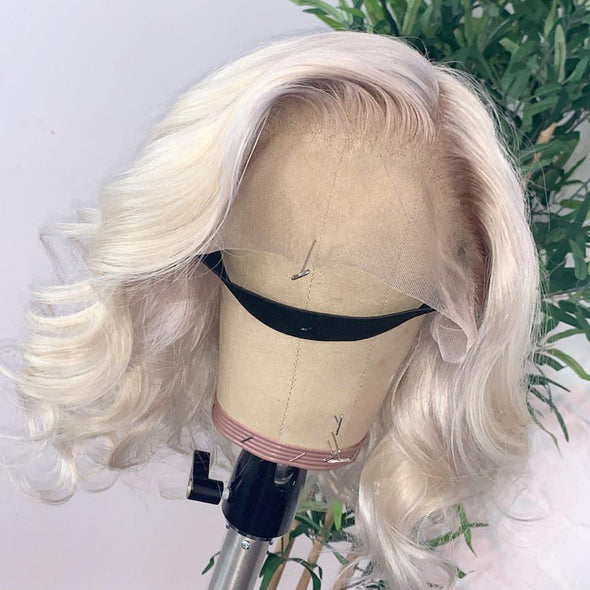 Platinum long wave front lace wig