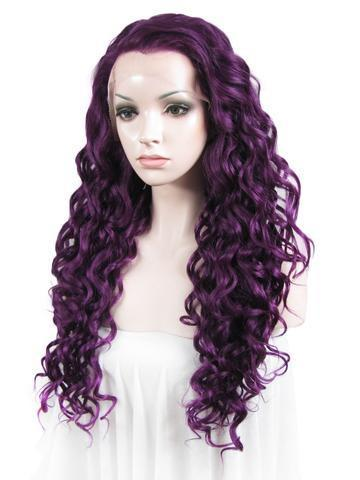Dark Purple Curly Long Synthetic Lace Front Wig