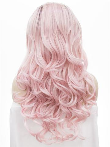 Light Warm Pink Ombre Big Wave Long Synthetic Lace Front Wig