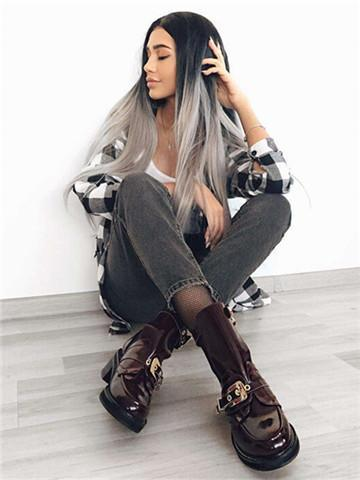 Long Black To Grey Ombre Straight Synthetic Lace Front Wig