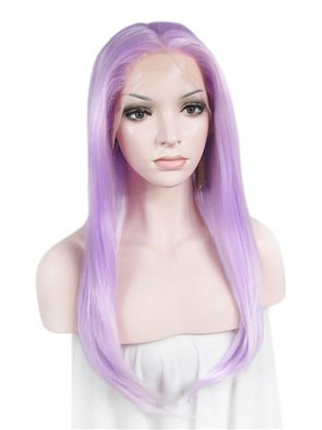 Long Light Lavender Gothic Style Straight Synthetic Lace Front Wig
