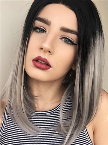Short Black Grayish Ombre Bob Synthetic Lace Front Wig