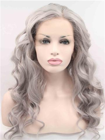 Long Pepper Silver Grey Wave Synthetic Lace Front Wig