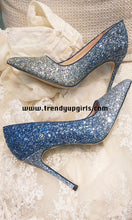 Load image into Gallery viewer, Sparkle Gradient Blue High Heels Women Shoes HZS0113