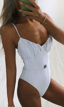 Load image into Gallery viewer, Striped White One-piece Bikinis Swimwear BKN0060