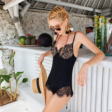 Load image into Gallery viewer, Black Lace One-piece Bathing Suit Bikinis BKN0016
