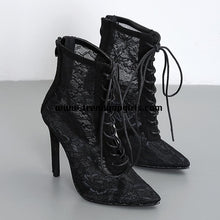 Load image into Gallery viewer, Black Lace Ankled High Heels Women Boots HZS0143