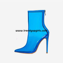 Load image into Gallery viewer, Blue Transparent Boots Women Shoes HZS0187
