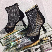 Load image into Gallery viewer, Black Beaded Boots High Heels Women Shoes HZS0148