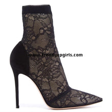 Load image into Gallery viewer, Black Lace High Heels Women Boots Shoes HZS0132