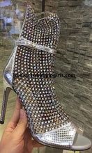 Load image into Gallery viewer, Sparkly Silver Beading Boots High Heels Women Shoes HZS0145