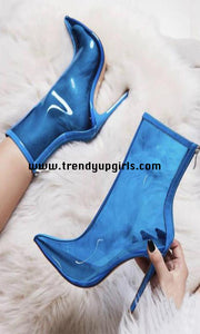 Blue Transparent Boots Women Shoes HZS0187