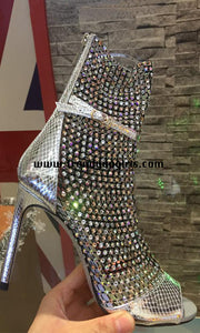 Sparkly Silver Beading Boots High Heels Women Shoes HZS0145