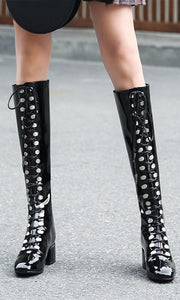 Fashion Spring  Lace UP Women High Boots HZS0231