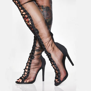 Spring Black Lace-up Boots Women Shoes Heels HZS0209