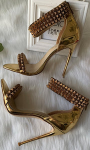 Gold Ankle Strapped Sandals High Heels HZS0225