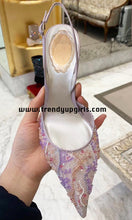 Load image into Gallery viewer, Light Purple Beaded Lace Sandals High Heels HZS0188