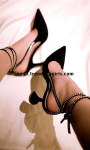 Black High Heels Ankle Strapped Women Shoes HZS0160