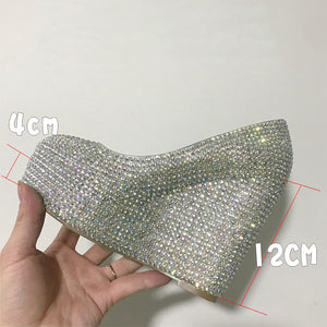 Silver Beaded Glitter Women Heels Wedding Shoes HZS0220