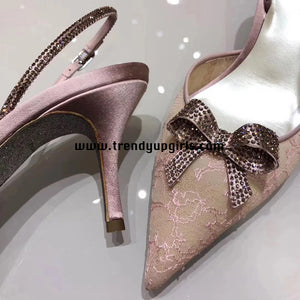 Blush Pink Sandals Heels Women Shoes with Bow HZS0186
