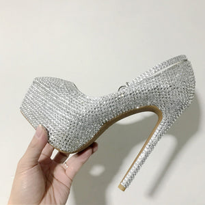Silver Beaded Glitter Women Heels Wedding Shoes HZS0221