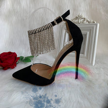 Load image into Gallery viewer, Black Ankle Strapped Beaded Sandals High Heels HZS0224
