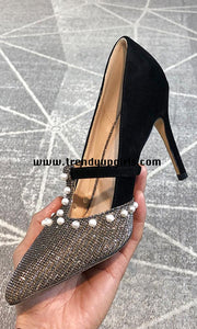 Beaded Sparkly High Heels Prom Women Shoes HZS0156