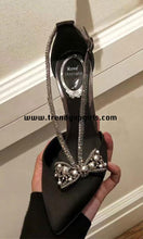 Load image into Gallery viewer, Black High Heels Women Shoes with Beaded Bow HZS0147