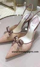 Load image into Gallery viewer, Blush Pink Sandals Heels Women Shoes with Bow HZS0186