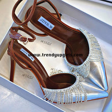 Load image into Gallery viewer, Silver High Heels Women Shoes with Beads HZS0133