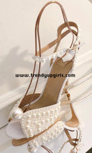 Load image into Gallery viewer, Beaded High Heels Summer Wedding Shoes HZS0162