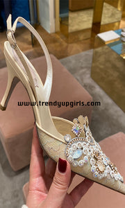 Beaded Lace Sandals High Heels Women Shoes HZS0189