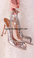 Load image into Gallery viewer, Silver Sandals Sparkle Beaded High Heels HZS0183